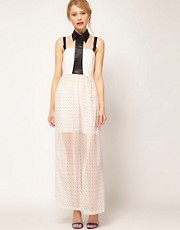 Jovonnista Maxi Dress With PU Collar