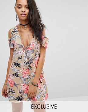 Milk It Vintage Cold Shoulder Festival Tea Dress In Hawaiian Floral