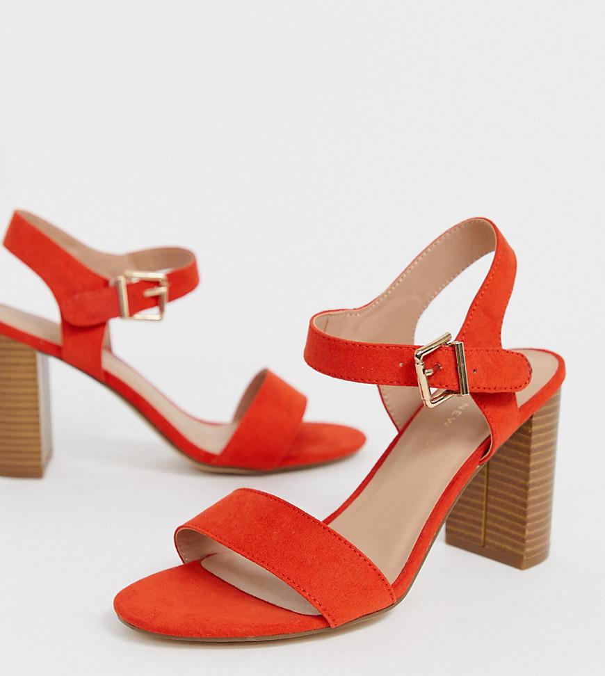 Оранжевые босоножки для широкой стопы на блочном каблуке New Look - Оранжевый