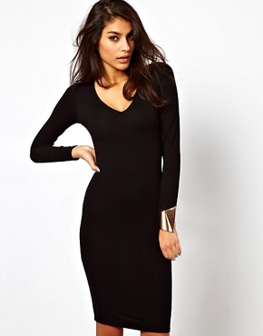 Image 1 ofASOS Bodycon Dress with Deep V Neck