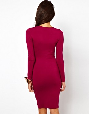 Image 2 ofASOS Bodycon Dress with Deep V Neck