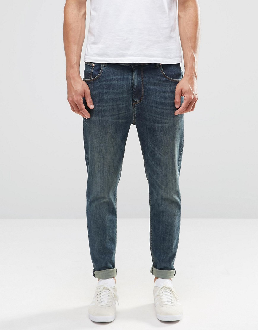 ASOS Tapered Jeans In Dirty Blue Wash - Dark blue