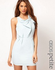 ASOS PETITE Exclusive Dress With Gathered Front And Mesh Back