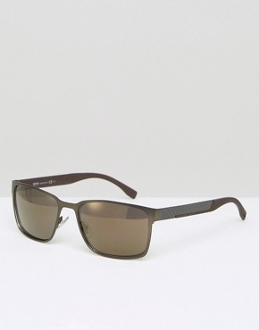 Hugo Boss Square Sunglasses In Gunmetal