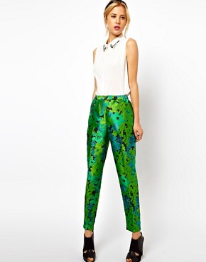 Image 1 of ASOS Pants In Floral Jacquard