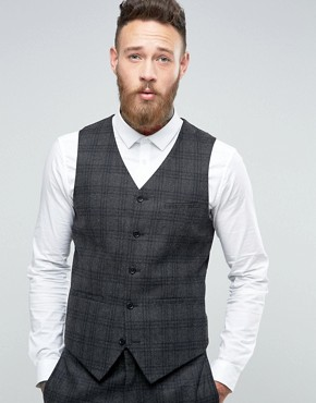ASOS Slim Suit Waistcoat In Charcoal With Black Check