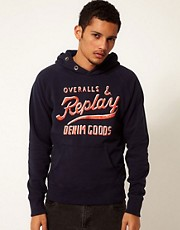 Replay Hooded Sweatshirt Button Neck Logo Front