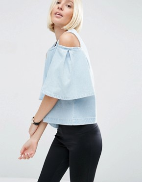 ASOS WHITE Denim Cut Out Frill Shoulder Top