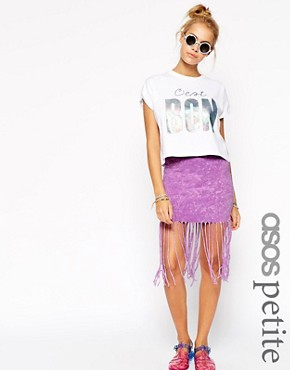 ASOS PETITE Mini Skirt With Self Fringing In Tie Dye