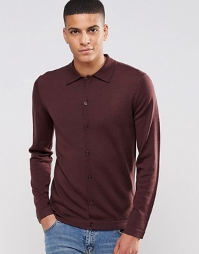 Reiss Long Sleeve Button Through Polo In Merino