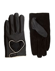 Guantes de cuero con abertura en forma de corazn de ASOS