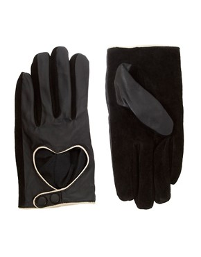 ASOS Leather Heart Cut Out Gloves from us.asos.com