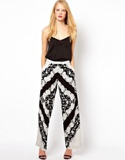 ASOS Wide Leg Trouser In Scarf Print