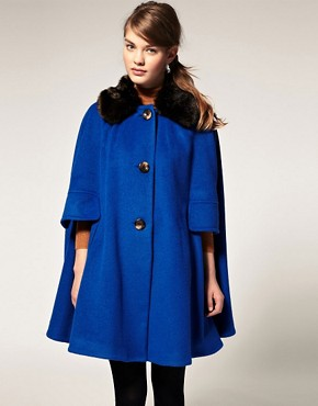 Image 1 ofASOS Cape With Fur Trim