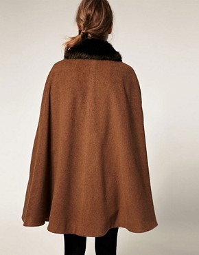 Image 2 ofASOS Cape With Fur Trim