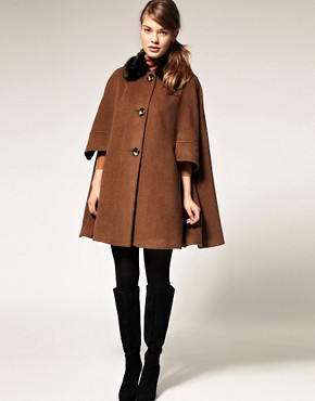 Image 4 ofASOS Cape With Fur Trim