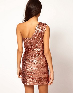 Image 2 ofOpulence England One Shoulder Sequin Dress