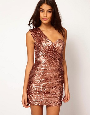 Image 1 ofOpulence England One Shoulder Sequin Dress