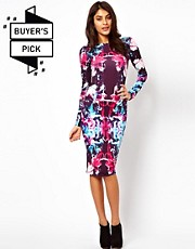 ASOS Midi Bodycon in Coloured Graphic Print