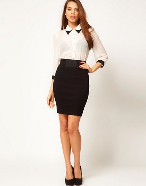 Image 1 ofASOS Tailored Bengaline Tab Front Pencil Skirt
