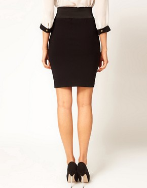 Image 2 ofASOS Tailored Bengaline Tab Front Pencil Skirt