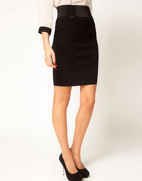 Image 4 ofASOS Tailored Bengaline Tab Front Pencil Skirt