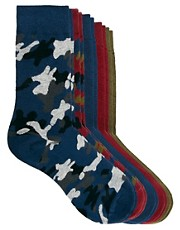 Jack &amp; Jones Camo 5 Pack Socks