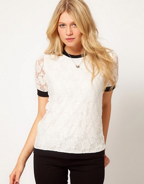 Image 1 ofASOS T-Shirt in Lace with Band Detail