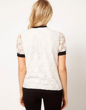 Image 2 ofASOS T-Shirt in Lace with Band Detail
