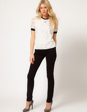 Image 4 ofASOS T-Shirt in Lace with Band Detail