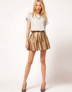 Image 1 ofASOS Leather Look Skater in Metallic