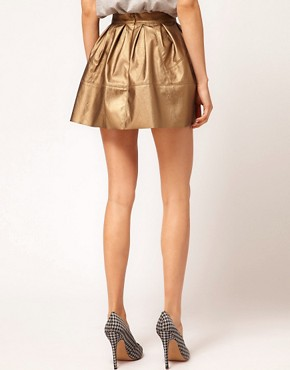 Image 2 ofASOS Leather Look Skater in Metallic