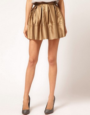 Image 4 ofASOS Leather Look Skater in Metallic
