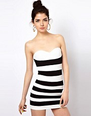 Motel Elinor Bandage Dress In Monochrome