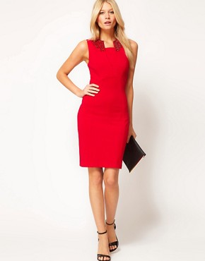 Image 4 ofTed Baker Embellished Collar Dress
