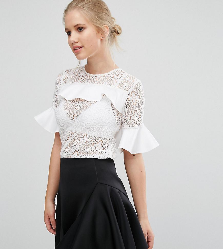 Closet - Satin-Bluse mit Spitzenrüschen - Weiß - Farbe:Weiß