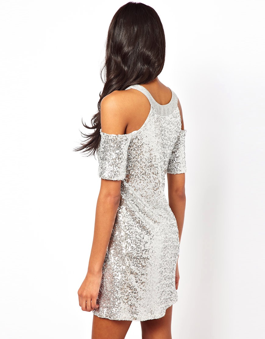 Image 2 of ASOS Cold Shoulder Sequin Dress