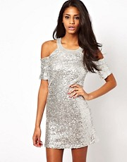 ASOS Cold Shoulder Sequin Dress