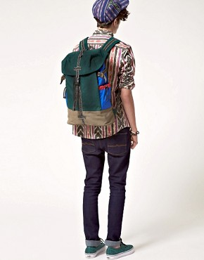 Bild 3 von ASOS   Rucksack mit Farbblock und Aztekenmuster