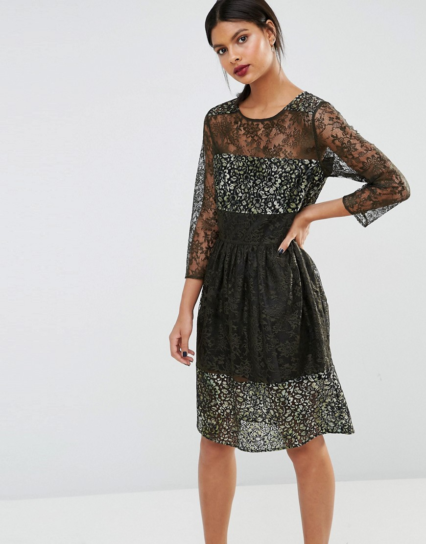 French Connection Molly Lace Dress - Khaki