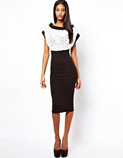 Quontum Midi Bodycon Dress With Lace