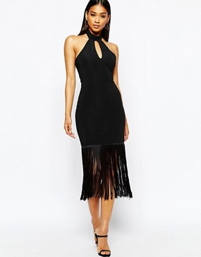 Michelle Keegan Loves Lipsy Halterneck Bodycon Dress WIth Fringe Hem