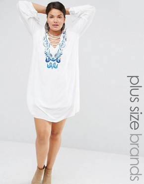 Missguided Plus Embroidered Tie Up Dress