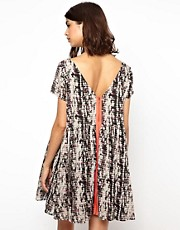 BA&SH V Back Printed Dress with Neon Zip