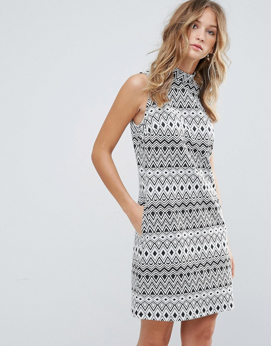 Deby Debo Geometrie Patterned Sleeveless Shift Dress