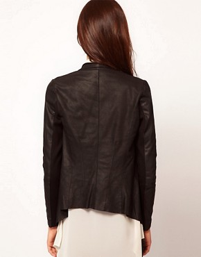 Image 2 ofWarehouse Soft Drape Leather Jacket