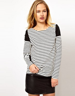 Image 1 ofSelected Panelled Stripe Tee