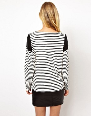 Image 2 ofSelected Panelled Stripe Tee