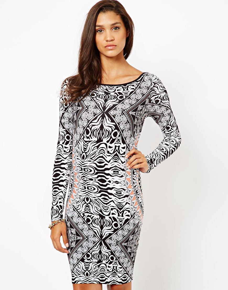 Image 1 of Lipsy Long Sleeve Printed Bodycon Dress