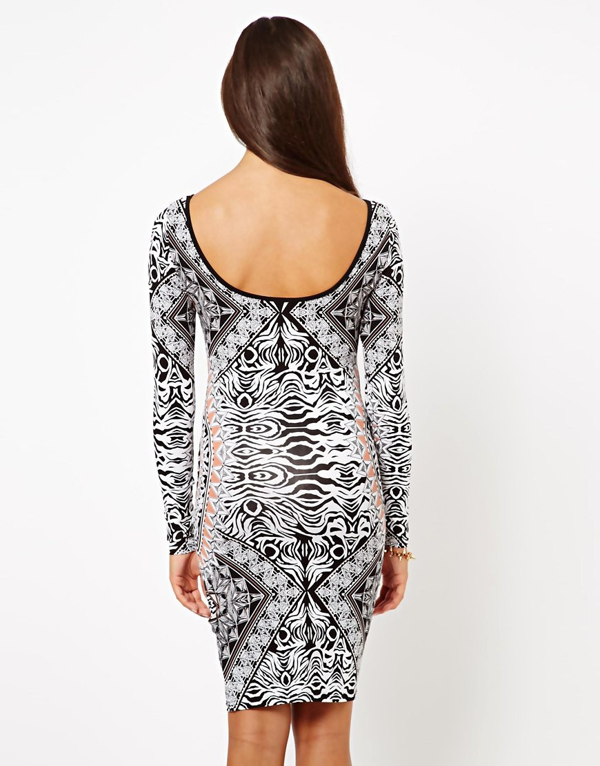 Image 2 of Lipsy Long Sleeve Printed Bodycon Dress